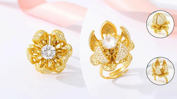 24K Flower Bloom gyűrű